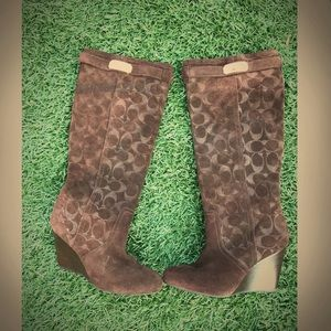 Coach Shoes - Coach wedge knee high, brown boots